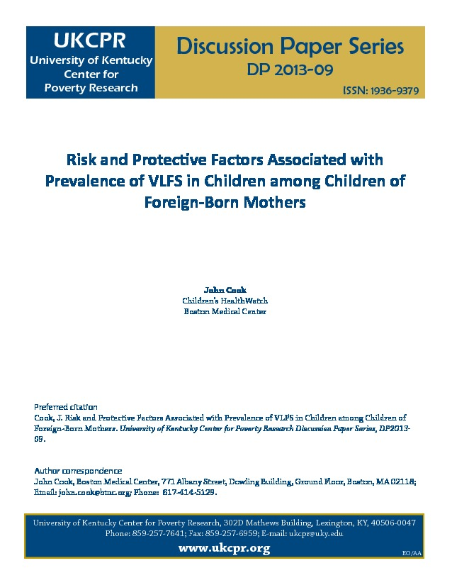 Mothers Birthplace Risk Factor For >> Risk And Protective Factors Associated With Prevalence Of Vlfs In
