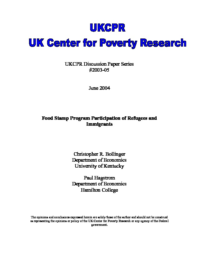Food Stamp Program Participation Of Refugees And Immigrants