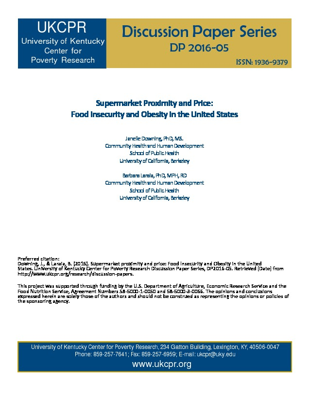 Supermarket Proximity And Price Food Insecurity And Obesity In The United States University Of Kentucky Center For Poverty Research